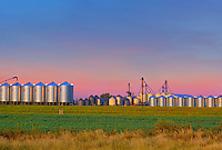Grain bins at dawn<br /> Pasqua<br /> Saskatchewan<br /> Canada