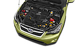 Car stock 2015 Subaru Xv Hybrid 5 Door SUV engine high angle detail view