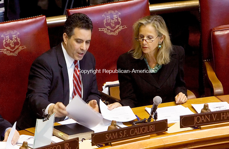 HARTFORD, CT- 03 JANUARY 07- 010307JT11-<br /> State Sen. Sam Caligiuri, D-16th District, talks to State Sen. Joan Hartley, D-15th District, on the opening day of the General Assembly's 2007 session on Wednesday at the Capitol in Hartford.<br /> Josalee Thrift Republican-American