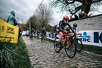 Arianna Fidanza (ITA/Lotto Soudal Ladies) up the Molenberg<br /> <br /> 12th Women's Omloop Het Nieuwsblad 2020 (BEL)<br /> Women's Elite Race <br /> Gent – Ninove: 123km<br /> <br /> ©kramon