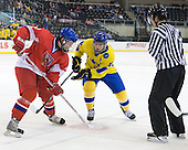 Michal Poletin (Czech Republic - 20), Anton Lander (Sweden - 16) - Sweden defeated the Czech Republic 4-2 at the Urban Plains Center in Fargo, North Dakota, on Saturday, April 18, 2009, in their final match of the 2009 World Under 18 Championship.