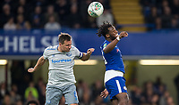 Phil Jagielka of Everton clears from Michy Batshuayi of Chelsea during the Carabao Cup round of 16 match between Chelsea and Everton at Stamford Bridge, London, England on 25 October 2017. Photo by Andy Rowland.