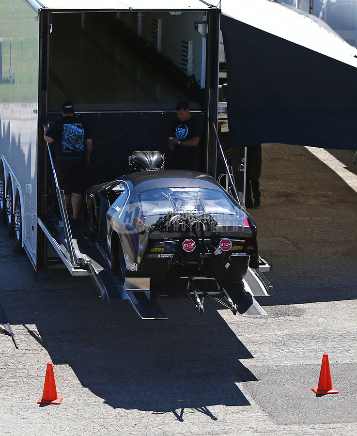 May 7, 2017; Commerce, GA, USA; The car of NHRA pro mod driver Steven Whiteley is loaded onto the hauler during the Southern Nationals at Atlanta Dragway. Mandatory Credit: Mark J. Rebilas-USA TODAY Sports