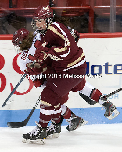 Jillian Dempsey (Harvard - 14), Ashley Motherwell (BC - 18) - The Boston College Eagles defeated the Harvard University Crimson 2-1 in the opening game of the 2013 Beanpot on Tuesday, February 5, 2013, at Matthews Arena in Boston, Massachusetts.