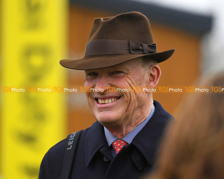 Trainer John Gosden looks happy after winning The Mansionbet Maiden Fillie's Stakes Div 1with<br /> Star Catcher ridden by Frankie Dettori during Racing at Newbury Racecourse on 12th April 2019