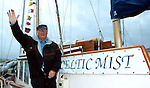 Charles Haughey pictured aboard his boat 'The Celtic Mist' in Dingle prior to sailing to his Innisvickallaun island in 2003.<br />Picture by Don MacMonagle