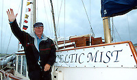 Charles Haughey pictured aboard his boat 'The Celtic Mist' in Dingle prior to sailing to his Innisvickallaun island in 2003.<br />