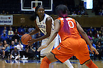 18 January 2015: Duke's Elizabeth Williams (1) and Miami's Erykah Davenport (30). The Duke University Blue Devils hosted the University of Miami Hurricanes at Cameron Indoor Stadium in Durham, North Carolina in a 2014-15 NCAA Division I Women's Basketball game. Duke won the game 68-53.