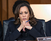 United States Senator Kamala Harris (Democrat of California) listens as Judge Brett Kavanaugh testifies before the United States Senate Judiciary Committee on his nomination as Associate Justice of the US Supreme Court to replace the retiring Justice Anthony Kennedy on Capitol Hill in Washington, DC on Thursday, September 6, 2018.<br /> Credit: Ron Sachs / CNP<br /> (RESTRICTION: NO New York or New Jersey Newspapers or newspapers within a 75 mile radius of New York City)