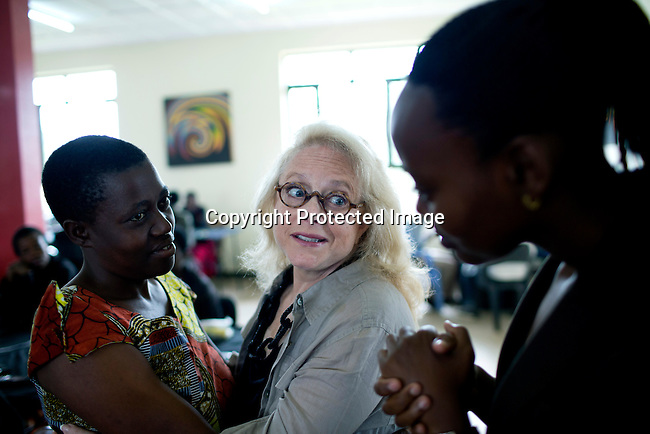 KIGALI, RWANDA: Mary Fisher, an Aids activist, author and artist talks to women during a workshop in Kigali, Rwanda. Mary Fisher is infected with HIV-Aids and held a passionate speech at the Republican Convention in 1992 speaking about Aids.