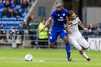 Sol Bamba of Cardiff City and Bradley Johnson of Derby County during the Sky Bet Championship match between Cardiff City and Derby County at Cardiff City Stadium, Cardiff, Wales on 30 September 2017. Photo by Mark  Hawkins / PRiME Media Images.