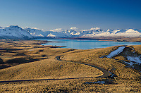 View from Mt John over Lake Tekapo, Mackenzie Country, Canterbury, South Island, New Zealand - stock photo, canvas, fine art print