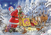 Interlitho, Gilberto, CHRISTMAS SANTA, SNOWMAN, classical, paintings, santa, sleigh, animals(KL2347,#X#)