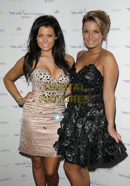 Jessica Wright & Sam Faiers.The Only Way Is Essex - fragrance & beauty launch, Sanctum Soho Hotel,.London, England..September 7th, 2011.half 3/4 length pink white dress strapless beads beaded tulle hand on hip leather floral stitching .CAP/CAN.©Can Nguyen/Capital Pictures.