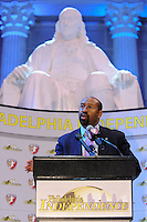 Philadelphia Mayor Michael Nutter during the signing ceremony for the WPS Philadelphia Independence at the Franklin Institute in Philadelphia, PA, on May 18, 2009.