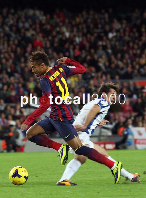 Spain.Barcelona. 01.11.2013<br /> Partido de liga BBVA entre Fc Barcelona- RCD Espanyol<br /> Neymar vs Victor S