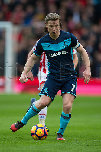 March 4th 2017,  bet365 Stadium, Stoke, England; EPL Premier League football, Stoke City versus Middlesbrough; Middlesbrough's Grant Leadbitter crosses the ball