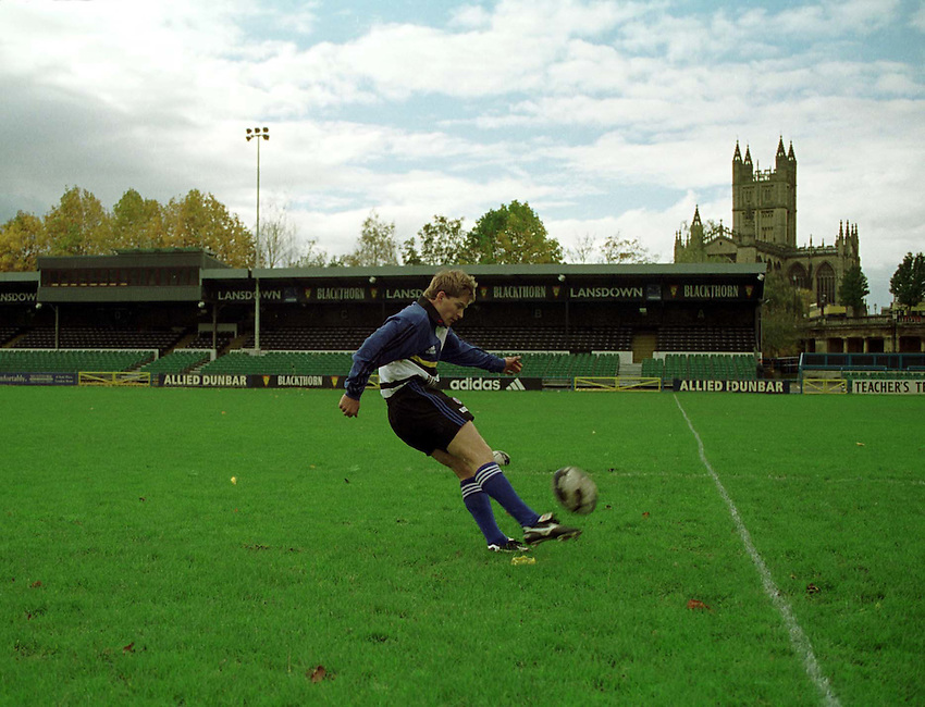 Photo. Richard Lane. .Jon Preston signs for Bath. 3/11/98. Jon Preston kicking at his new home in Bath.