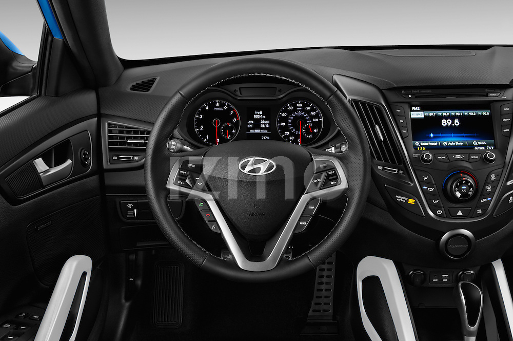 Car pictures of steering wheel view of a 2016 Hyundai Veloster 1.6-Turbo-Manual 4 Door Hatchback Steering Wheel