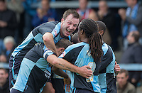 Celebrations as Michael Harriman of Wycombe Wanderers scores his first goal during the Sky Bet League 2 match between Wycombe Wanderers and Hartlepool United at Adams Park, High Wycombe, England on 5 September 2015. Photo by Andy Rowland.