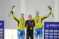 SPEEDSKATING: SALT LAKE CITY: 10-12-2017, Utah Olympic Oval, ISU World Cup, Podium 5000m Men A-Division, Patrick Beckert (GER), Ted-Jan Bloemen (CAN), World record 6.01,86, Moritz  Reisreiter (GER), ©photo Martin de Jong