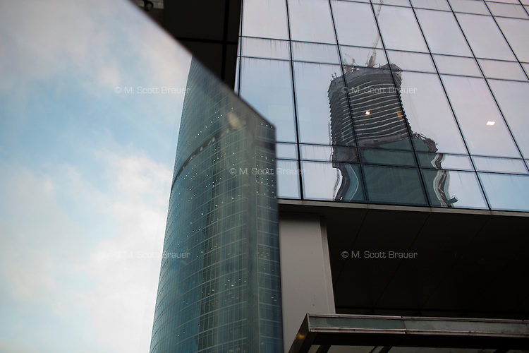 Skyscrapers stand close to one another in Moscow City development area in Moscow, Russia.