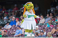 Dayton Dragons mascot Gem entertains the fans between innings of the game against the West Michigan Whitecaps at Fifth Third Field on May 29, 2017 in Dayton, Ohio.  The Dragons defeated the Whitecaps 4-2.  (Brian Westerholt/Four Seam Images)