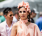 June 8, 2019 : A woman is dressed up in peach on Belmont Stakes Festival Saturday at Belmont Park in Elmont, New York. Scott Serio/Eclipse Sportswire/CSM