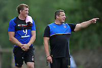 Stuart Hooper and Bath Rugby First team coach Toby Booth. Bath Rugby training session on August 4, 2015 at Farleigh House in Bath, England. Photo by: Patrick Khachfe / Onside Images