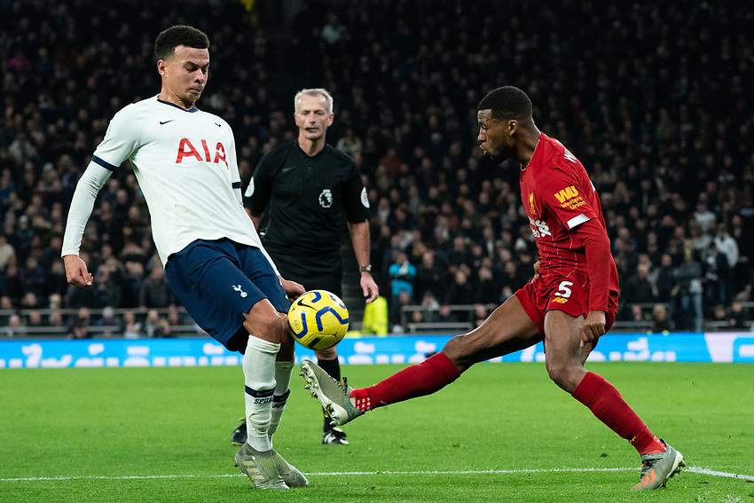 Liverpool's Georginio Wijnaldum battles with Tottenham's Dele Alli<br /> <br /> Photographer Stephanie Meek/CameraSport<br /> <br /> The Premier League - Tottenham Hotspur v Liverpool - Saturday 11th January 2020 - Tottenham Hotspur Stadium - London<br /> <br /> World Copyright © 2020 CameraSport. All rights reserved. 43 Linden Ave. Countesthorpe. Leicester. England. LE8 5PG - Tel: +44 (0) 116 277 4147 - admin@camerasport.com - www.camerasport.com