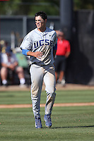 Woody Woodward (9) of the UC Santa Barbara Gouchos during a game against the Cal State Northridge Matadors at Matador Field on April 10, 2015 in Northridge, California. UC Santa Barbara defeated Cal State Northridge, 7-4. (Larry Goren/Four Seam Images)