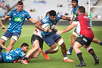 March 14th 2020, Eden Park, Auckland, New Zealand;  Blues Hoskins Sotutu is tackled during the Super Rugby match between the Blues and the Lions, held at Eden Park, Auckland, New Zealand.