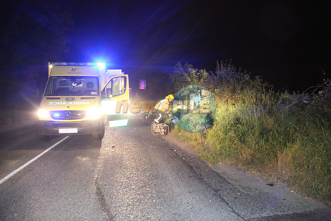 the scene of a two vehicle RTC on the Termonfeckin road at the first cross, Three units from Drogheda fire service backed up by three units from the ambulance service attended the scene on thursday last..Photo: Fran Caffrey/www.newsfile.ie..