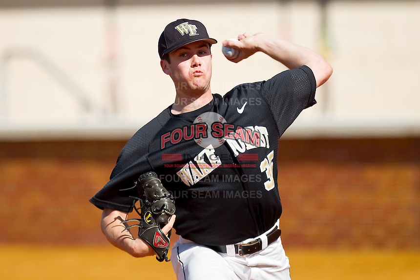 Starting pitcher Tim Cooney #35 of the Wake Forest Demon Deacons warms-up in the bullpen prior to the game against the Miami Hurricanes at Gene Hooks Field on March 19, 2011 in Winston-Salem, North Carolina.  Photo by Brian Westerholt / Four Seam Images