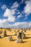 Limestone pillars jut out of the sand in the Pinnacles Desert in Nambung National Park.  Cervantes, Western Australia, AUSTRALIA.