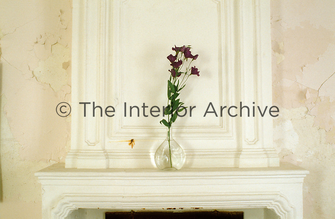 A simple glass carafe on the mantlepiece of an antique fireplace in the living room contains a single violet Lisianthus