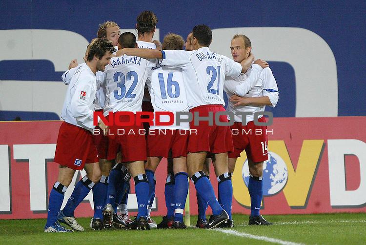 Bundesliga 2004/2005 -  Hamburger SV <br /> <br /> Hamburger SV vs SC Freiburg<br /> <br /> Emile Mpenza schiesst das 1-0 fuer den HSV und jubelt mit der Mannschaft.<br /> <br /> Foto &copy; nordphoto - Anja Heinemann<br /> <br /> <br /> <br /> <br /> <br /> <br /> <br />  *** Local Caption *** Foto ist honorarpflichtig! zzgl. gesetzl. MwSt.<br /> <br /> Belegexemplar erforderlich<br /> <br /> Adresse: nordphoto<br /> <br /> Georg-Reinke-Strasse 1<br /> <br /> 49377 Vechta