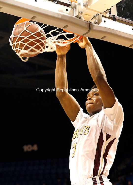 Uncasville, CT- 22 March 2015-032215CM26- Sacred Heart's Mustapha Heron dunks the ball during their Class S state championship game against Valley Regional at Mohegan Sun Arena in Uncasville on Sunday. The Hearts won, 71-46.    Christopher Massa Republican-American