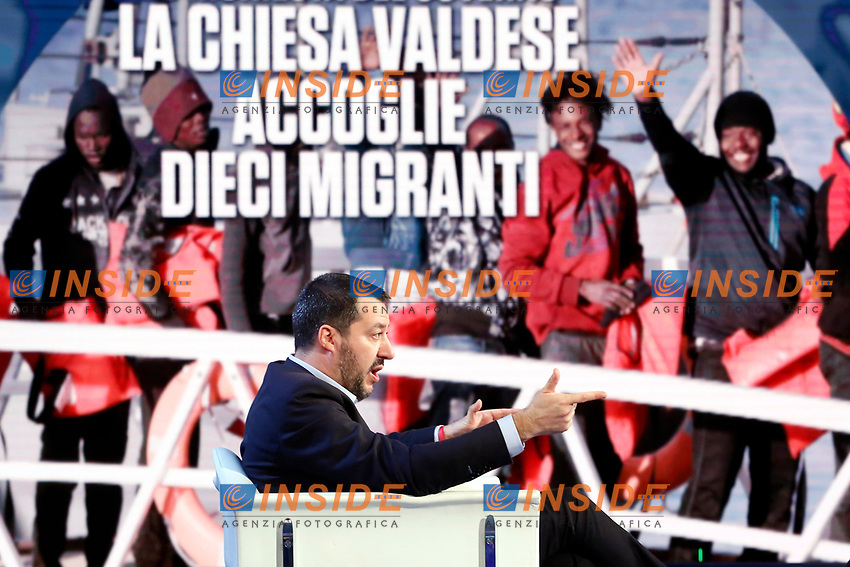 Matteo Salvini and on the video migrants<br /> Rome January 10th 2019. The Italian Minister of Internal Affairs appears as a guest on the tv show Porta a Porta<br /> Foto Samantha Zucchi Insidefoto