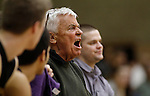 LEAD, SD - FEBRUARY 21, 2014:  Custer High School Boys basketball coach Larry Luitjens shout to his players during a game with Lead-Deadwood Friday February 21, 2014 in Lead, S.D.  Luitjens is retiring after more than 40 years coaching.  (Photo by Dick Carlson/Inertia)