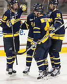 Hampus Gustafsson (Merrimack - 20), Dan Kolomatis (Merrimack - 26), Marc Biega (Merrimack - 4), Chris LeBlanc (Merrimack - 16) - The Boston College Eagles defeated the visiting Merrimack College Warriors 2-1 on Wednesday, January 21, 2015, at Kelley Rink in Conte Forum in Chestnut Hill, Massachusetts.