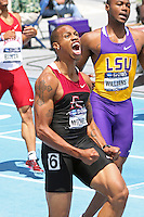 Maurice Mitchell reacts after winning the 200 meters in a slightly wind-aided 19.99 seconds at the 2011 NCAA Division I Outdoor Track and Field National Championships. The Florida State junior and Raytown South graduate beat the field by nearly 4/10ths of a second to capture his second national title in 30 minutes after earlier winning the 4x100 meter relay.