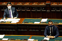 The Italian premier Giuseppe Conteand Minister of Foreign Affairs Luigi Di Maio wearing face masks during this speech about the European Council at the Chamber of Deputies. Rome (Italy), July 22nd 2020<br /> Foto Samantha Zucchi Insidefoto