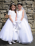 Kate Dennis and Isobella Davis from Scoil Mhuire Fatima who made their First Holy Communion in St Mary's church. Photo: Colin Bell/pressphotos.ie