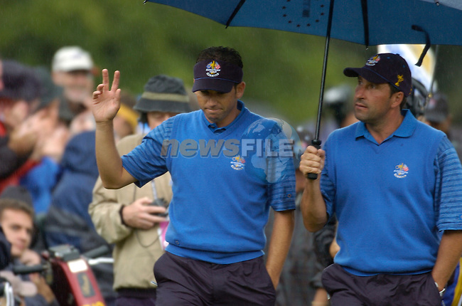 Ryder Cup K Club Straffin Co Kildare..European Ryder Cup Team players Sergio Garcia and Jose Maria Olazabal make their way to the 17th green during the morning fourball session of the second day of the 2006 Ryder Cup at the K Club in Straffan, County Kildare, in the Republic of Ireland, 23 September, 2006..Photo: Barry Cronin/ Newsfile.