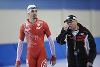 SCHAATSEN: SALT LAKE CITY: Utah Olympic Oval, 12-11-2013, Essent ISU World Cup, training, Artur Was (POL), Wim den Elsen (trainer KIA Speed Skating Academy), ©foto Martin de Jong