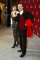 "Actress Nicoletta Braschi and director Roberto Benigni at the Berlinale 2006, 56. Internationale Filmfestspiele Berlin / Berlin Film Festival, Photocall for ""La tigre e la neve / The Tiger and the Snow"""