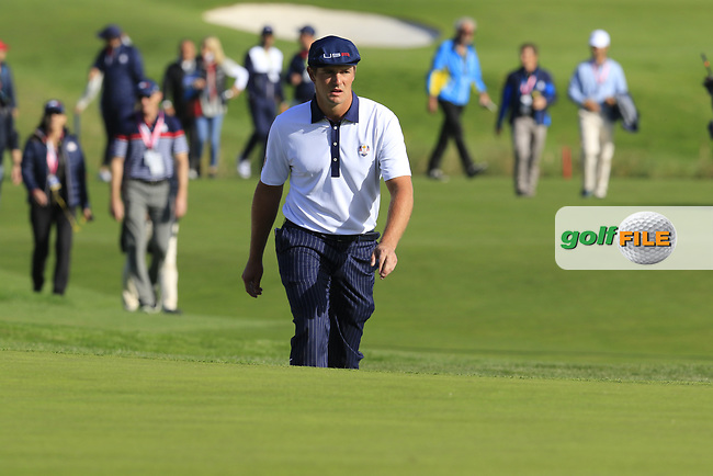 Bryson Dechambeau (Team USA) on the 9th green during Saturday's Foursomes Matches at the 2018 Ryder Cup 2018, Le Golf National, Ile-de-France, France. 29/09/2018.<br /> Picture Eoin Clarke / Golffile.ie<br /> <br /> All photo usage must carry mandatory copyright credit (© Golffile | Eoin Clarke)