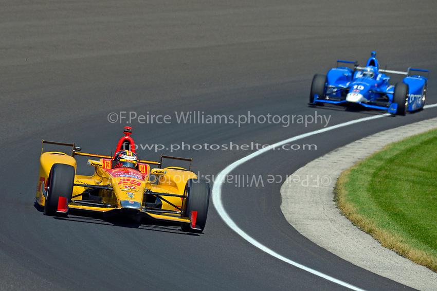 Verizon IndyCar Series<br /> Indianapolis 500 Carb Day<br /> Indianapolis Motor Speedway, Indianapolis, IN USA<br /> Friday 26 May 2017<br /> Ryan Hunter-Reay, Andretti Autosport Honda, Tony Kanaan, Chip Ganassi Racing Teams Honda<br /> World Copyright: F. Peirce Williams