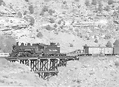K-37 #490 leading a westbound freight across a timber trestle.<br /> D&amp;RGW  e. of Monero, NM  Taken by Richardson, Robert W. - 11/11/1955